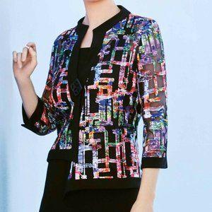 Joseph Ribkoff Multi Asymmetric Colorful Jacket 6